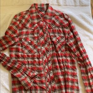 THEORY red plaid top